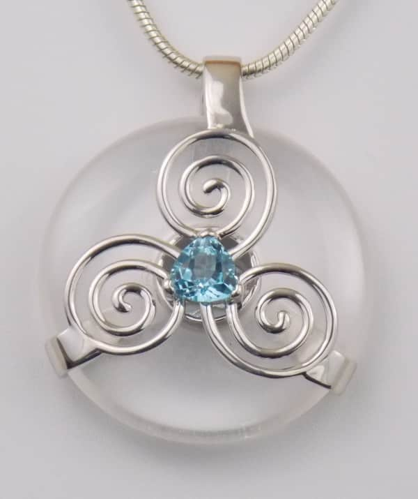 Clear Quartz W Blue Topaz Triskelion Amulet