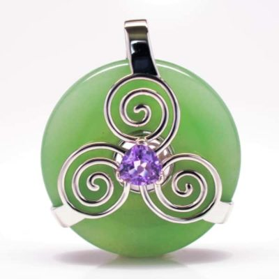 Green Adventrine w/Amethyst (Front View)