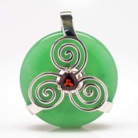 Green Adventrine w/Garnet (Back View)