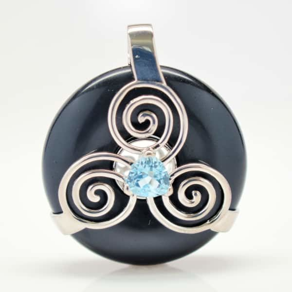 Black Obsidian w/Blue Topaz (Front View)