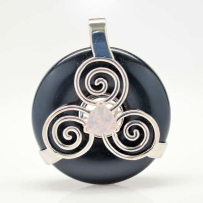 Black Obsidian w/Rose Quartz (Front View)