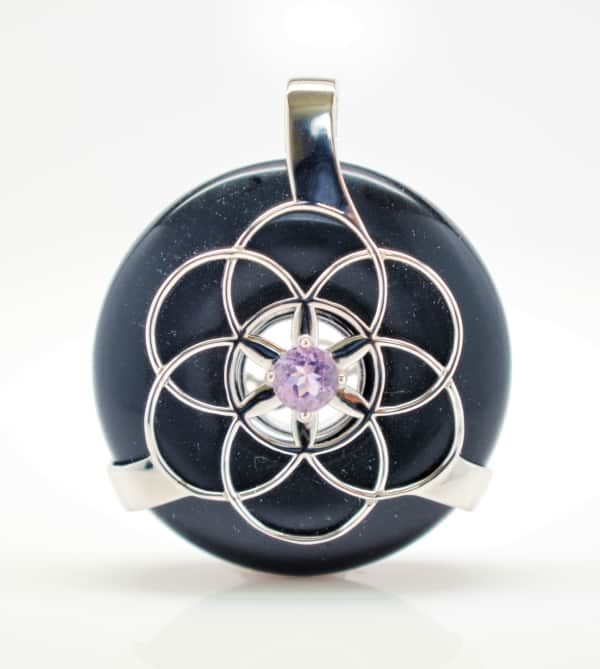 Black Osidian w/Amethyst SOL Amulet (Front)