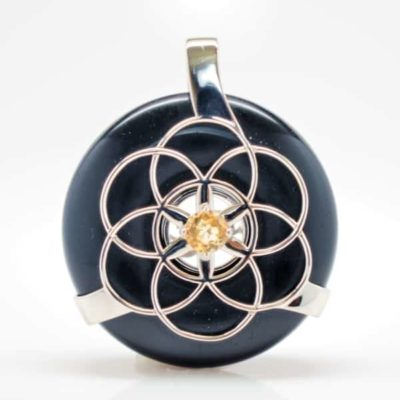 Black Osidian w/Citrine SOL Amulet (front)