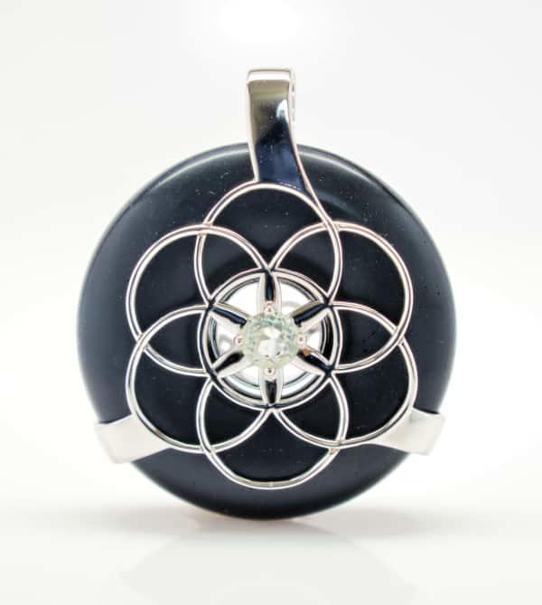 Black Osidian w/Green Amethyst SOL Amulet (Front)
