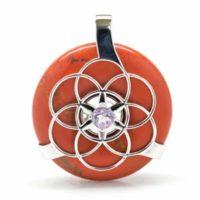 Red Jasper w/Amethyst SOL Amulet (Front)