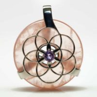 Rose Quartz w/Amethyst SOL Amulet (Front)