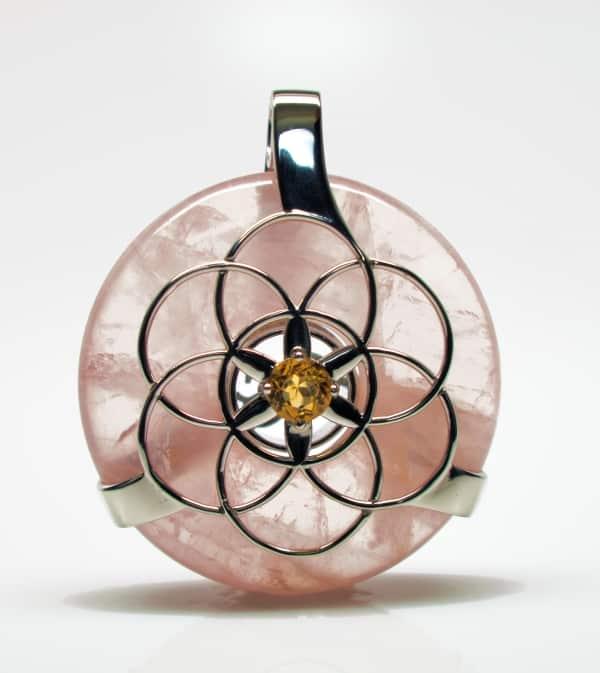 Rose Quartz w/Citrine SOL Amulet (Front)
