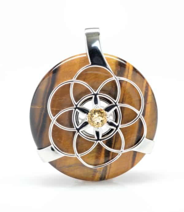 Golden Tiger Eye w/Citrine Amethyst SOL Amulet (Front)
