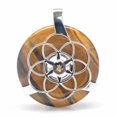 Golden Tiger Eye w/Smokey Quartz SOL Amulet (Front)