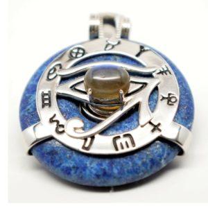 Lapis Lazuli w/Blue Labradorite Eye – Horus Egyptian Amulet