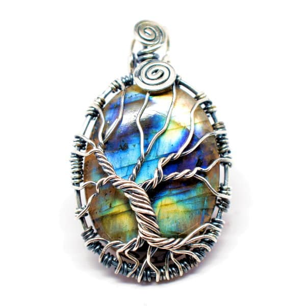 Rainbow Labradorite – Tree of Prosperity Amulet (Front)