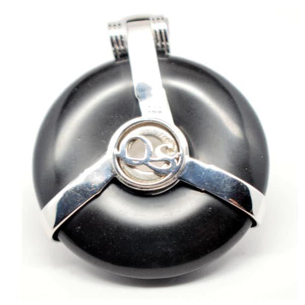 Black Obsidian w/Moonstone Eye – Horus Egyptian Amulet (Back)
