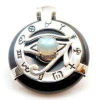 Black Obsidian w/Labradorite Eye – Horus Egyptian Amulet (Front)