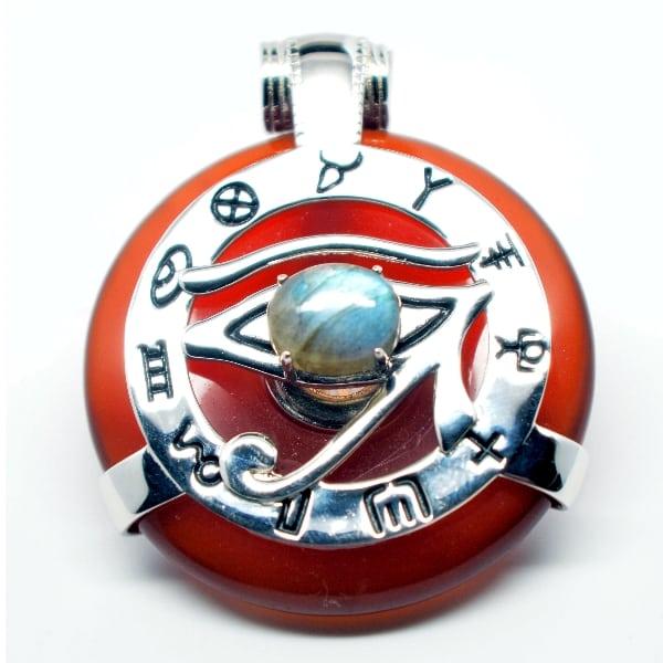 Natural Carnelian w/Labradorite Eye – Horus Egyptian Amulet (Front)