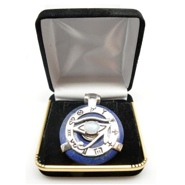 Lapis Lazuli w/Moonstone Eye – Horus Egyptian Amulet (FREE Gift Box)