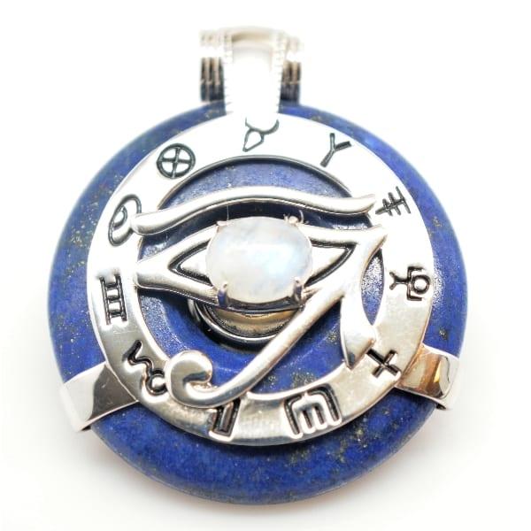 Lapis Lazuli w/Moonstone Eye – Horus Egyptian Amulet (Front)