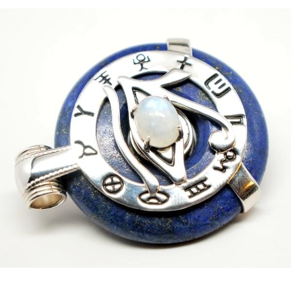 Lapis Lazuli w/Moonstone Eye – Horus Egyptian Amulet