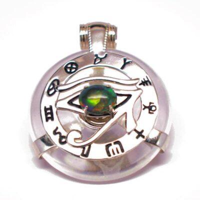 Clear Quartz w/Opal Eye – Horus Egyptian Amulet (Front)