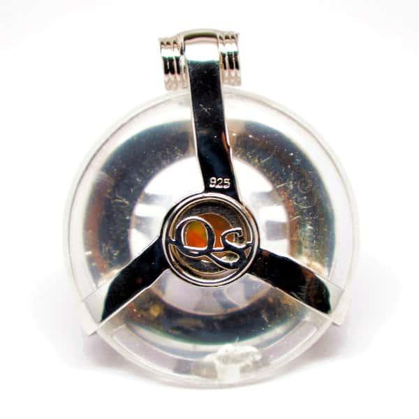 Clear Quartz w/Opal Eye – Horus Egyptian Amulet (Back)