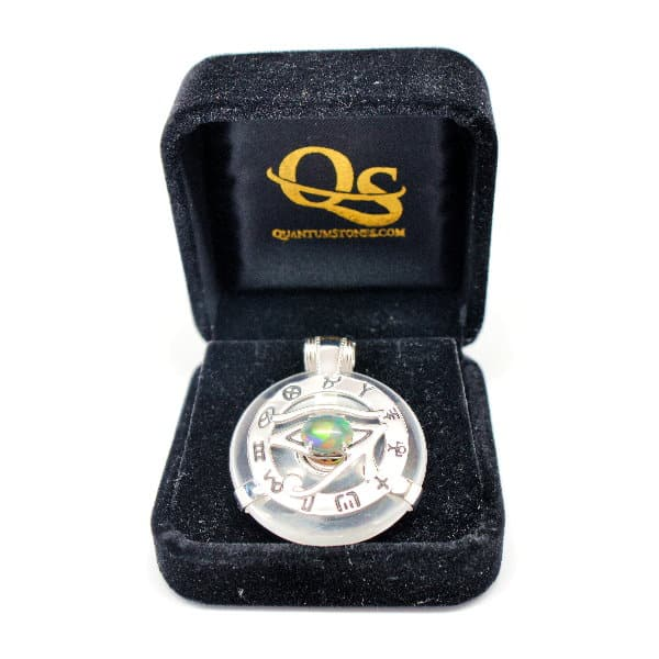 Clear Quartz w/Opal Eye – Horus Egyptian Amulet (FREE Gift Box)