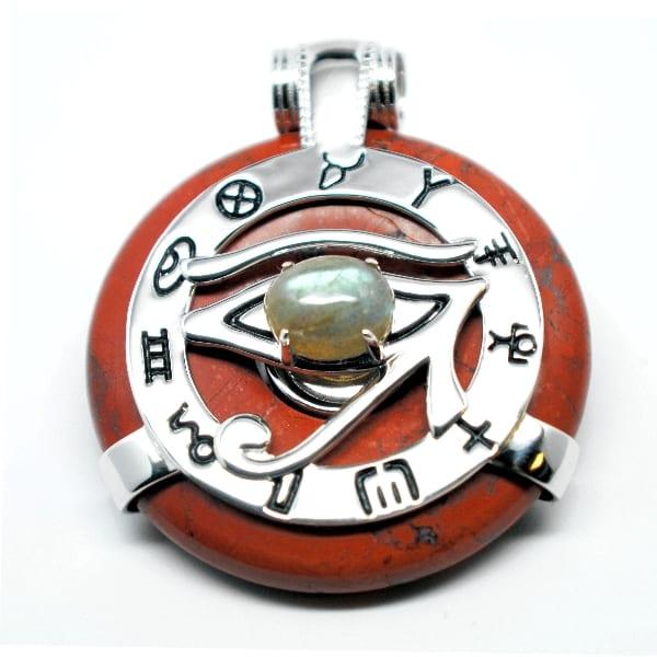 Red Jasper w/Labradorite Eye – Horus Egyptian Amulet (Front)
