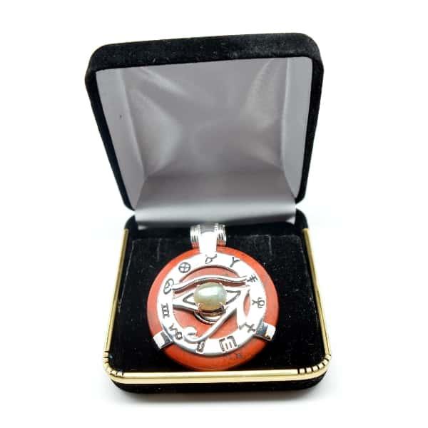 Red Jasper w/Labradorite Eye – Horus Egyptian Amulet (FREE Gift Box)
