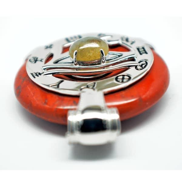 Red Jasper w/Labradorite Eye – Horus Egyptian Amulet