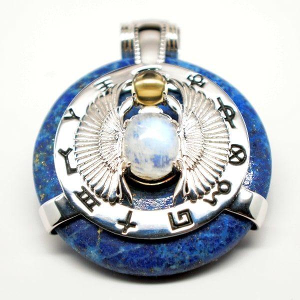 Lapis Lazuli w/Moonstone Body – Scarab Egyptian Amulet (Front)