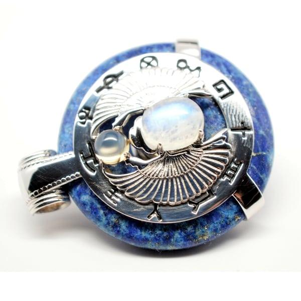 Lapis Lazuli W Moonstone Body Scarab Egyptian Amulet