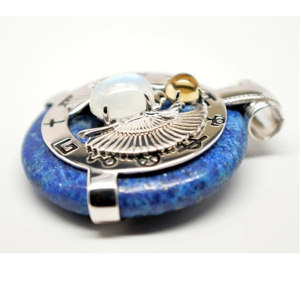 Lapis Lazuli w/Moonstone Body – Scarab Egyptian Amulet