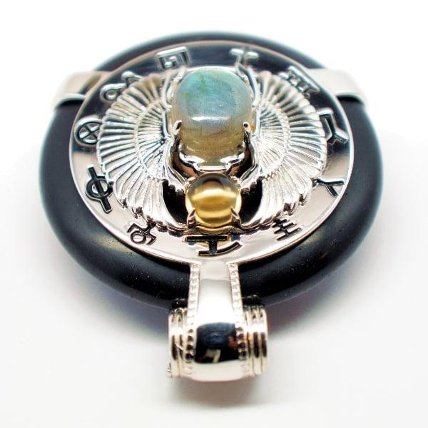 Black Obsidian w/Labradorite Body – Scarab Egyptian Amulet