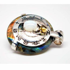 Rainbow Labradorite w/Moonstone Body – Scarab Egyptian Amulet