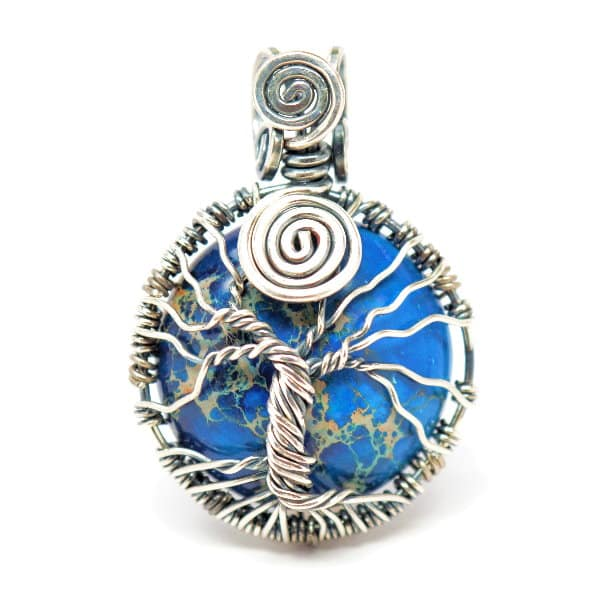 Tree of Infinity Blue Imperial Jasper Amulet - Round (Front)