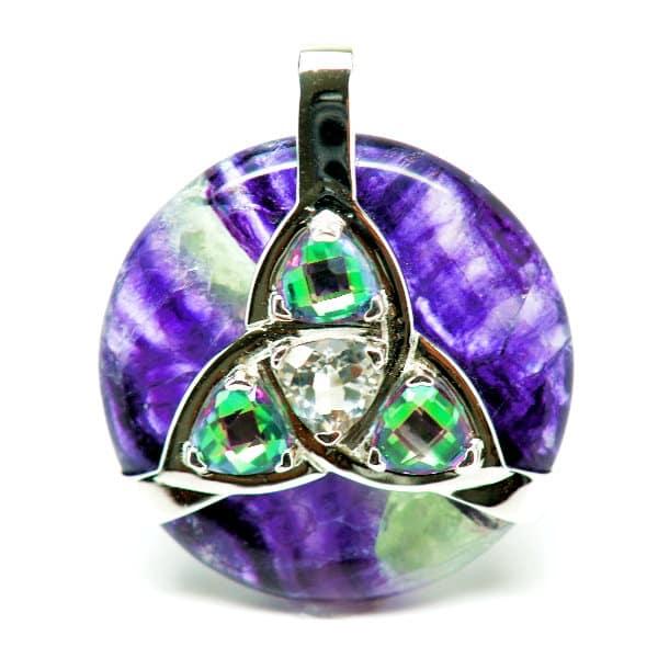 Triquetra Fluorite w/Mystic Green & Clear Quartz Amulet (Front)