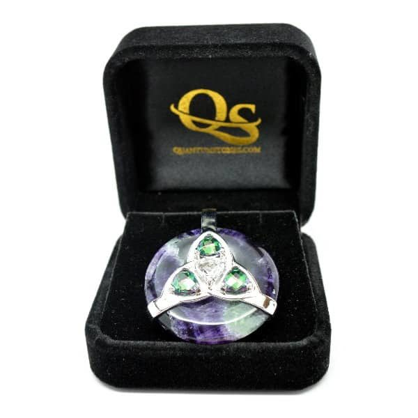 Triquetra Fluorite w/Mystic Green & Clear Quartz Amulet (FREE Gift Box)