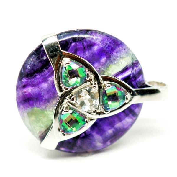 Triquetra Fluorite w/Mystic Green & Clear Quartz Amulet