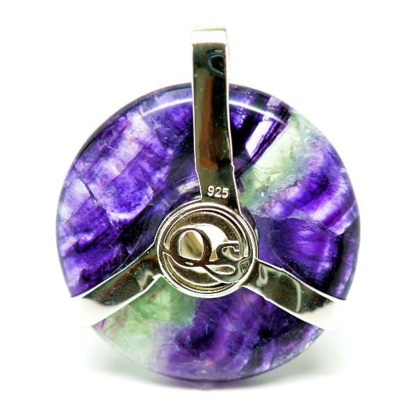 Triquetra Fluorite w/Mystic Green & Clear Quartz Amulet (Back)