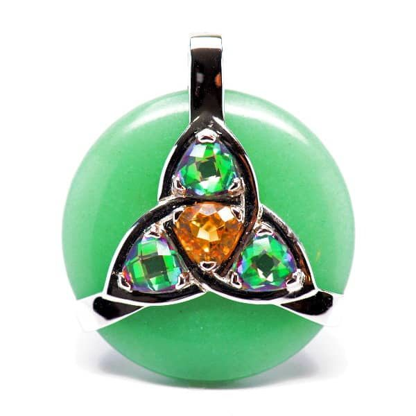 Triquetra Green Aventurine w/Mystic Green & Citrine Amulet (Front)