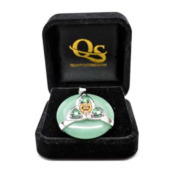 Triquetra Green Aventurine w/Mystic Green & Citrine Amulet (FREE Gift Box)