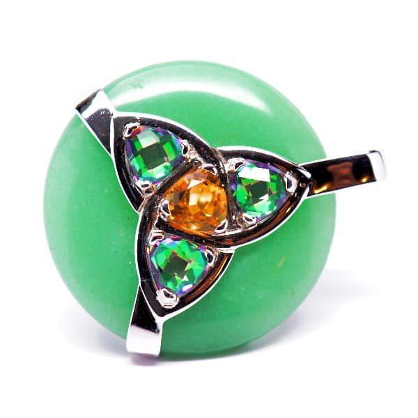 Triquetra Green Aventurine w/Mystic Green & Citrine Amulet