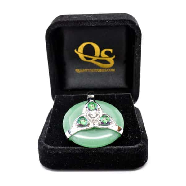 Triquetra Green Aventurine w/Mystic Green & Clear Quartz Amulet (FREE Gift Box)