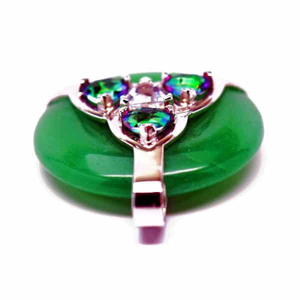 Triquetra Green Aventurine w/Mystic Green & Clear Quartz Amulet