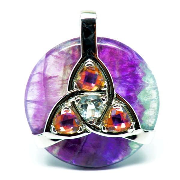 Triquetra Fluorite w/Mystic Yellow & Clear Quartz Amulet (Front)