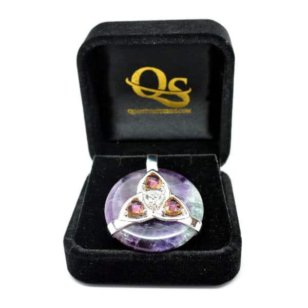 Triquetra Fluorite w/Mystic Yellow & Clear Quartz Amulet (FREE Gift Box)