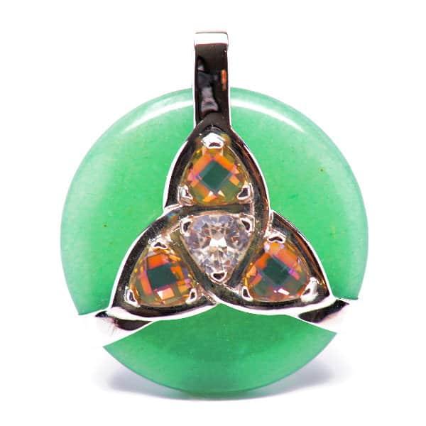 Triquetra Green Aventurine w/Mystic Yellow & Clear Quartz Amulet (Front)