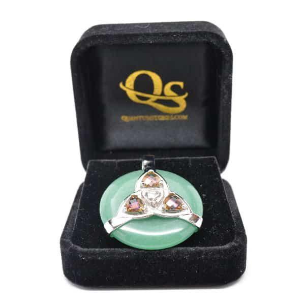 Triquetra Green Aventurine w/Mystic Yellow & Clear Quartz Amulet (FREE Gift Box)
