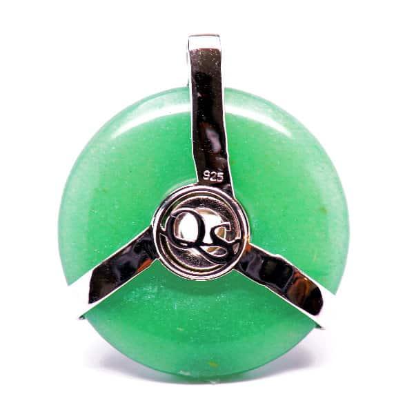 Triquetra Green Aventurine w/Mystic Yellow & Clear Quartz Amulet (Back)