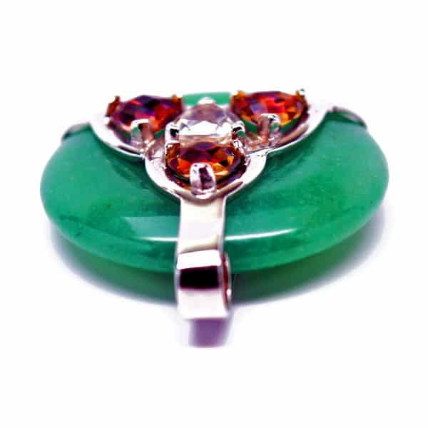 Triquetra Green Aventurine w/Mystic Yellow & Clear Quartz Amulet