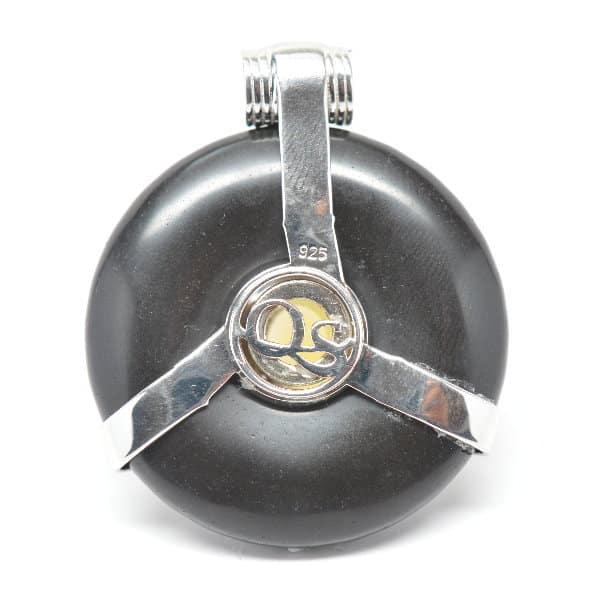 Black Obsidian w/Opal Body – Scarab Egyptian Amulet (Back)