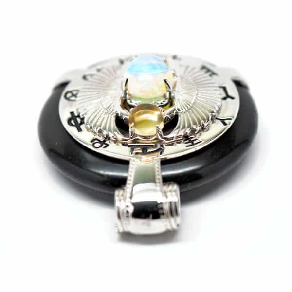 Black Obsidian w/Opal Body – Scarab Egyptian Amulet